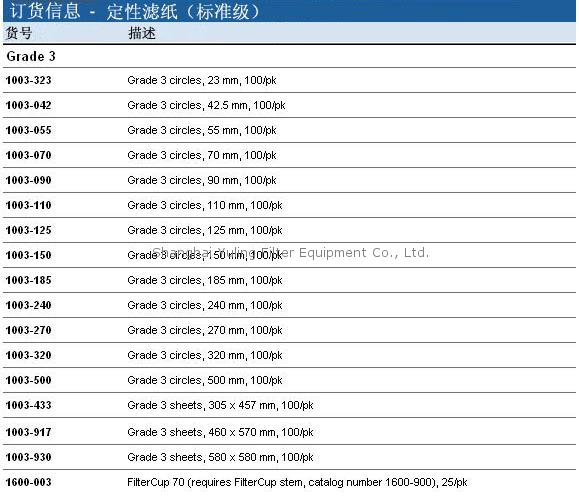 Whatman 定性滤纸 Grade 3, 1003-055, 1003-090, 1003-110, 1003-125