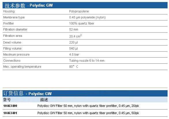 Whatman Polydisc GW 在线滤器, 10463400, 10463401