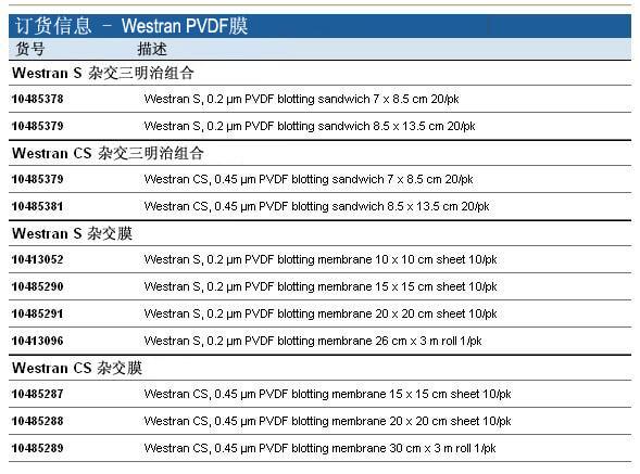 Whatman Westran PVDF膜, 10485381, 10413052, 10413096, 10485289