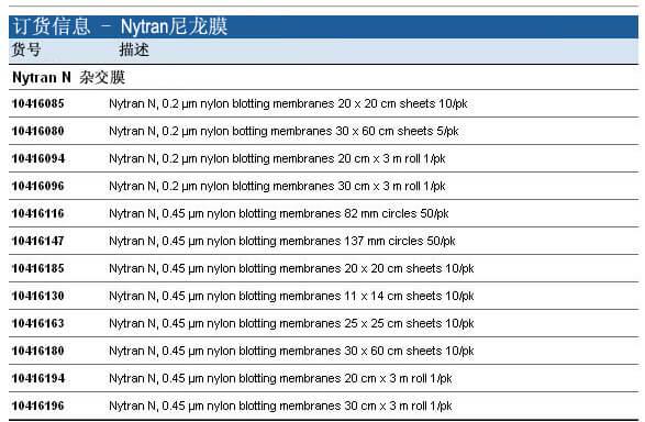 Whatman Nytran 尼龙膜, 10416094, 10416196, 10416296
